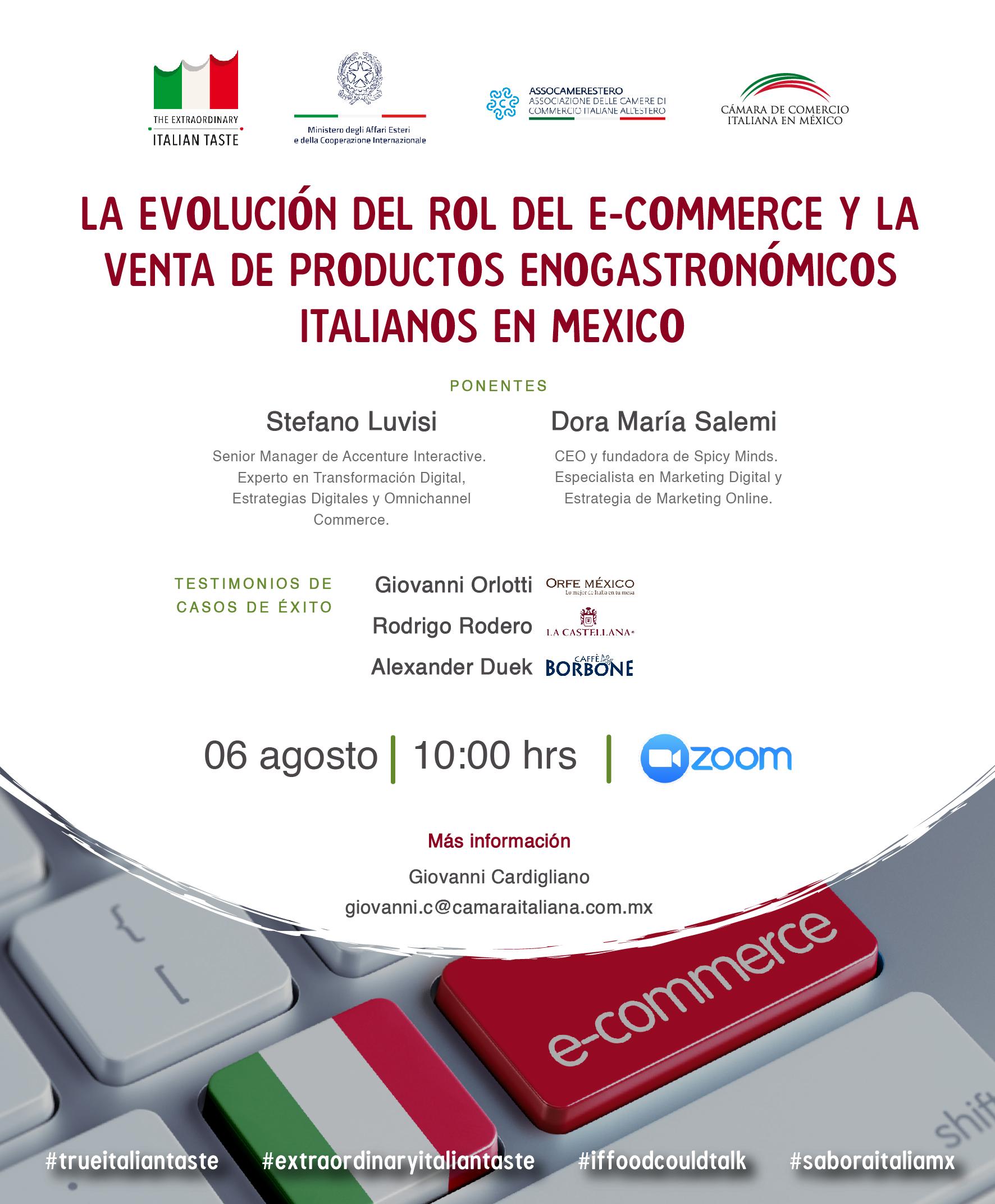 """Webinar """"L'evoluzione del commercio elettronico e della vendita di prodotti enogastronomici italiani in Messico"""""""