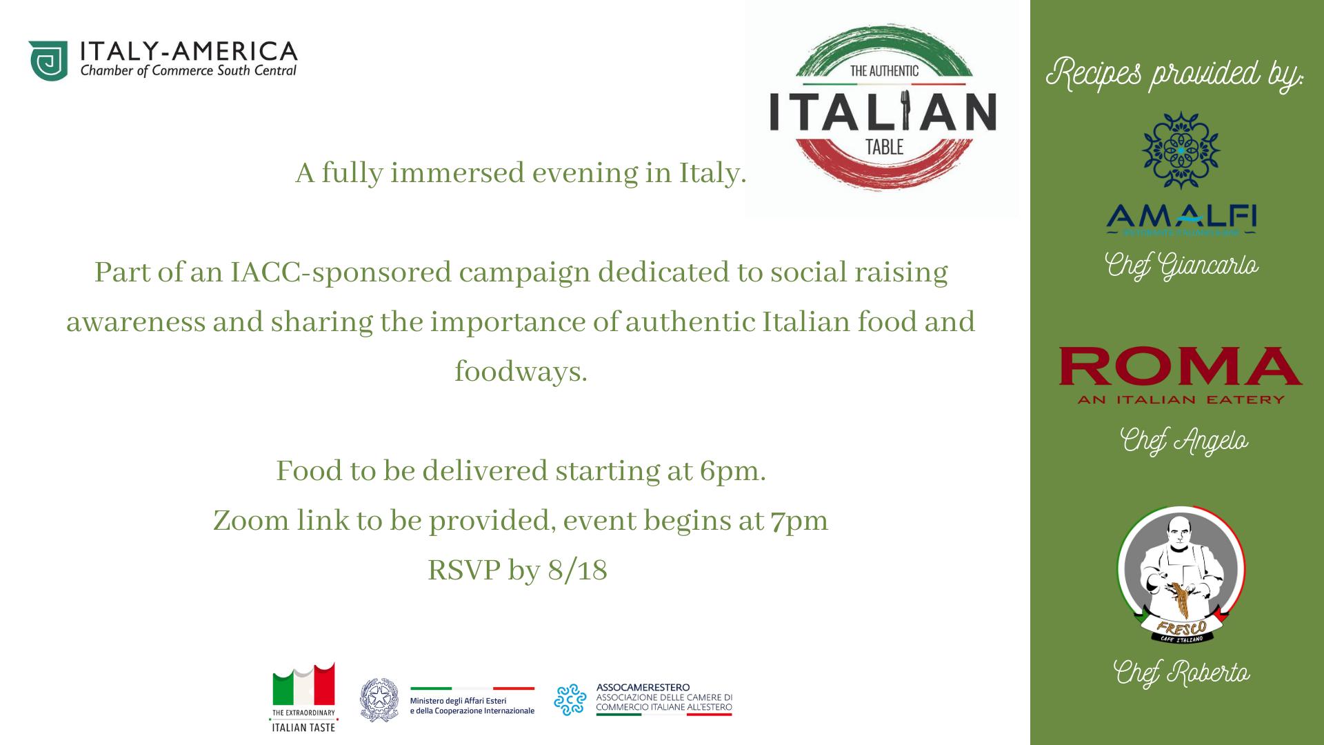 Authentic Italian Table – Virtual Dinner