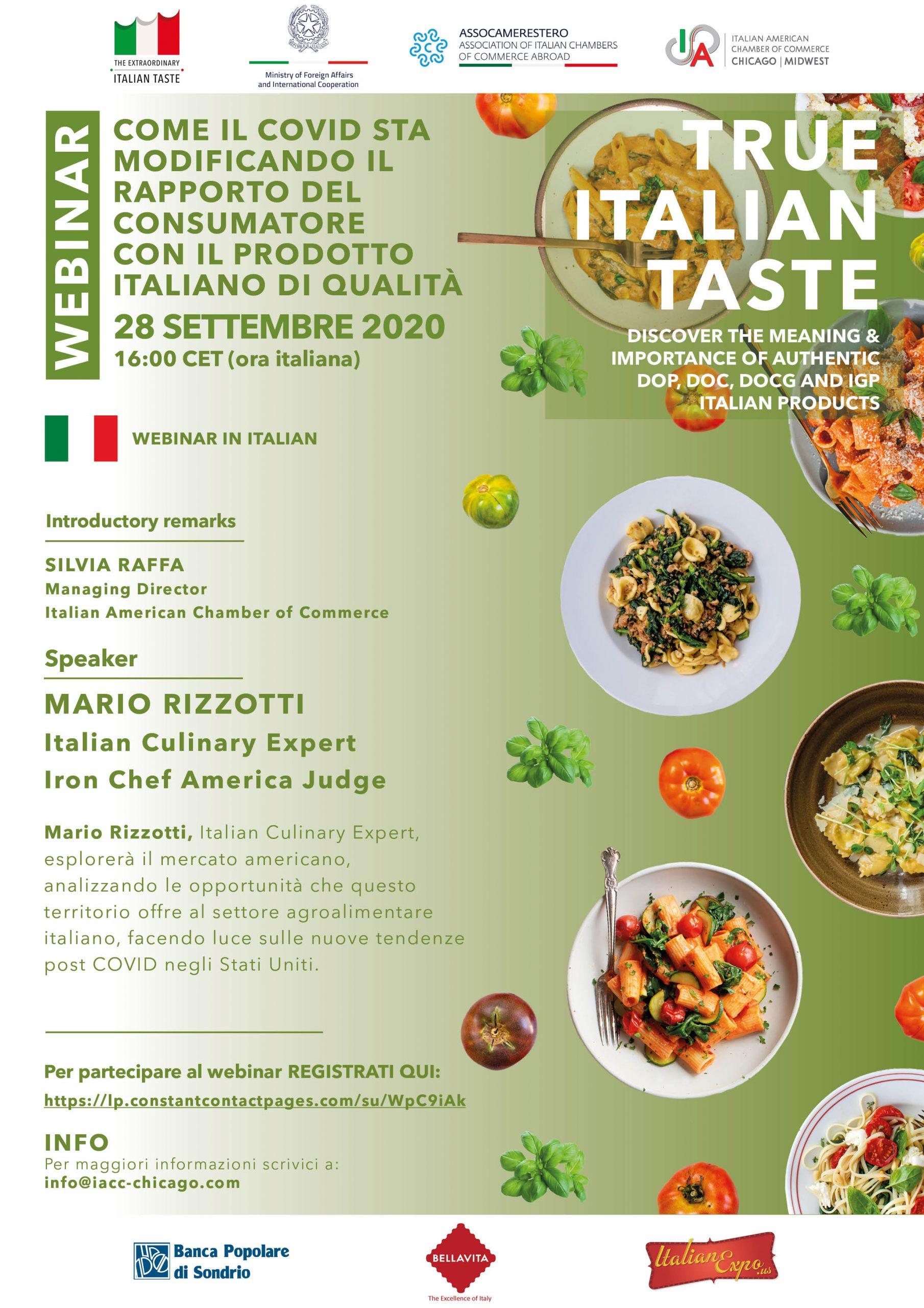 """Webinar """"Come il COVID sta modificando il rapporto del consumatore con il prodotto italiano di qualitá"""","""