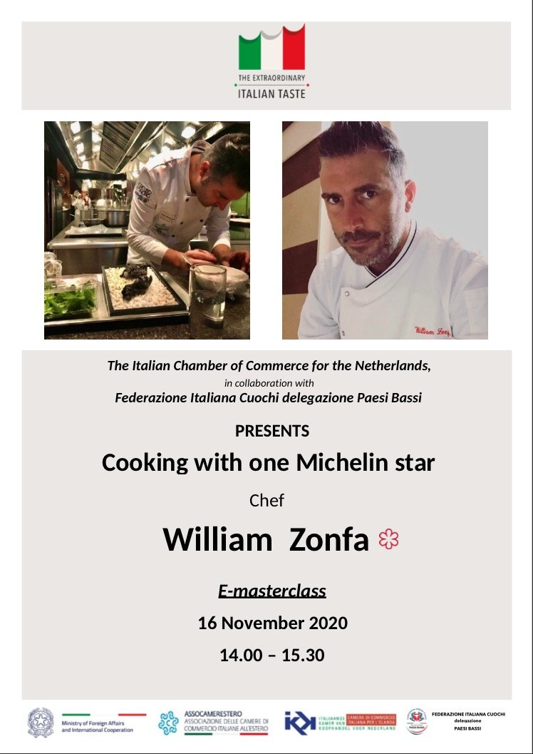 """Webinar """"Cooking with one Michelin star Chef William Zonfa"""""""