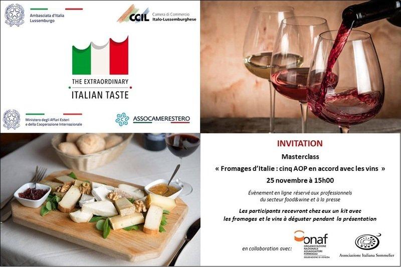 """Masterclass """"Fromages d'Italie: cinq AOP en accord avec les vins"""""""