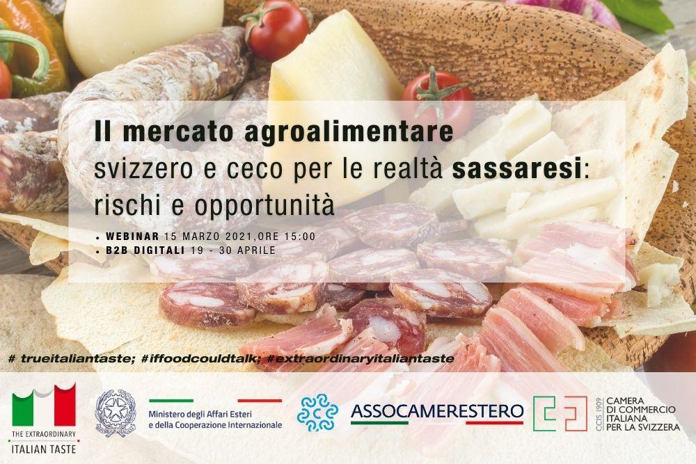 """Webinar """"Il mercato agroalimentare svizzero e ceco per le realtà sassaresi: rischi e opportunità"""" e incontri B2B"""