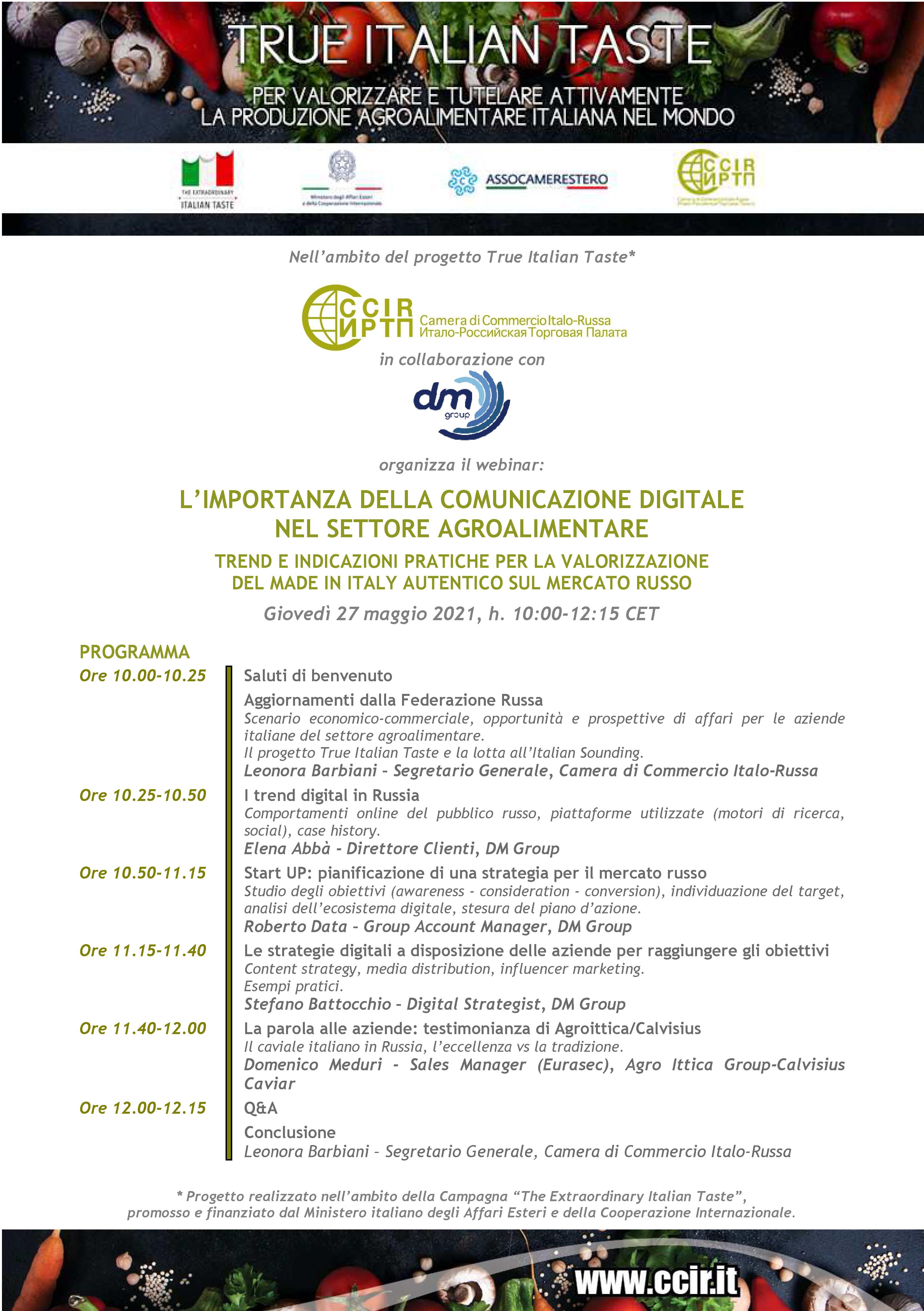 """Webinar """"L'importanza della comunicazione digitale nel settore agroalimentare - trend e indicazioni pratiche per la valorizzazione del Made in Italy autentico sul mercato russo"""""""