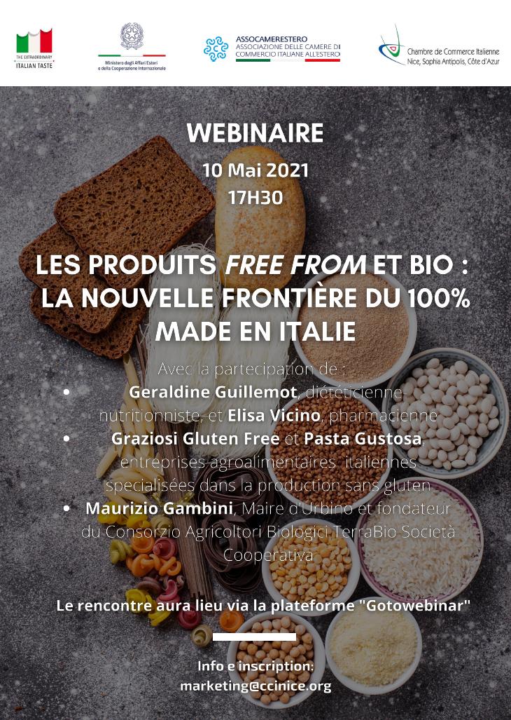 """Webinar """"Les produits FREE FROM et BIO: la nouvelle frontière du 100% Made en Italie"""""""